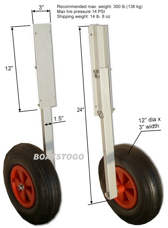 Aluminium Launching Wheels for inflatable boat dinghy.