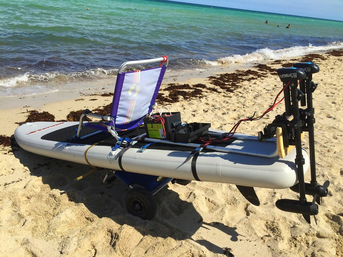 Add electric trolling motor to stand up sup paddle board for Fishing kayak with trolling motor