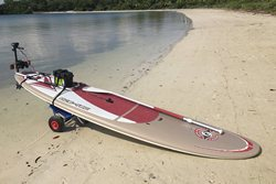 Hard hull SUP paddle board with motor mount installed.