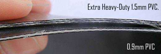 Compare extra heavy-duty 1.5mm PVC to standard 0.9mm (1100 denier) PVC. Click to enlarge this picture.