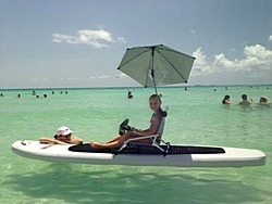 Turn heads on a beach by attaching low profile beach chair and Sport-Brella umbrella to Saturn SUP.