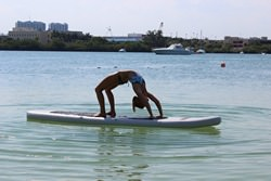 Inflatable paddle boards for Yoga on a water