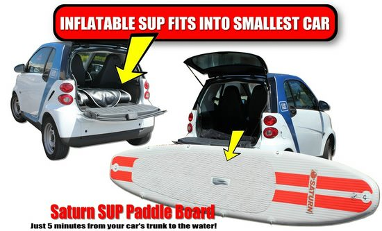 Saturn SUP can fit into smallest Nano Smart car! Click to zoom in.
