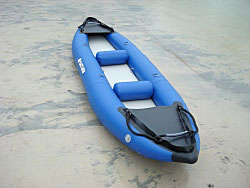 RK375 Saturn kayak with standard inflatable fenders installed