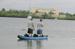 RK375 Saturn kayak is so stable, that even 2 people can stand in it.