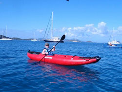 Saturn Inflatable Kayak with Sail Kit from SailBoatsToGo.com. Click to zoom in.