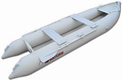 New Inflatable KaBoat with aluminum benches and rowing oars. Click to zoom in.