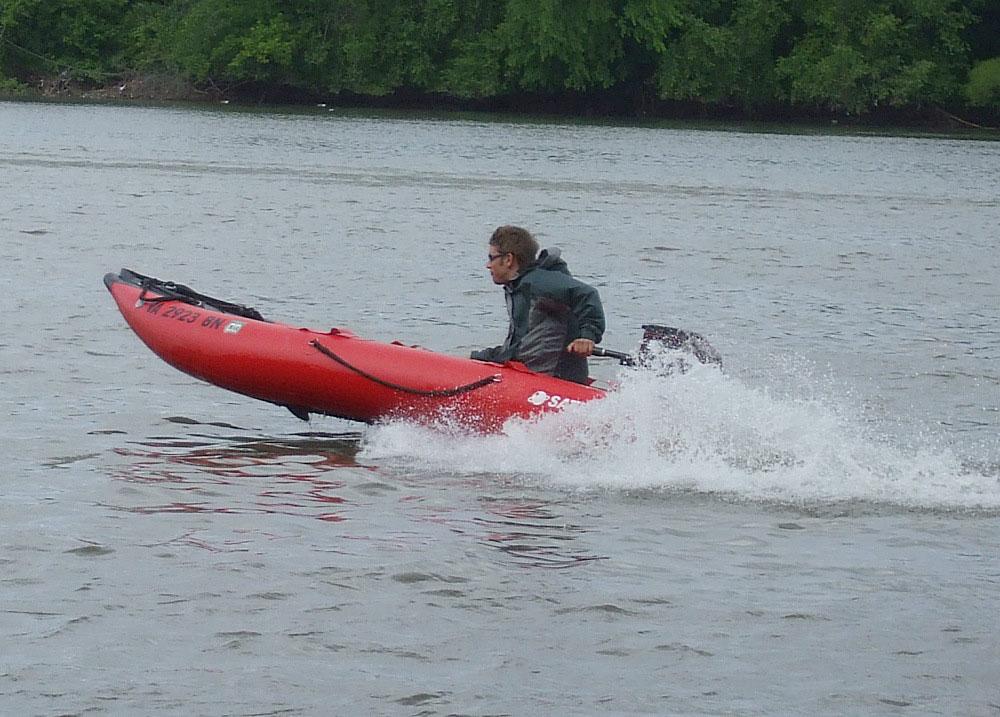 12ft Saturn Inflatable Kayak Boat Kaboat Gray Red Sk396