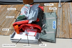 Hand pump, carry bag, repair kit and extra spare valve is included.