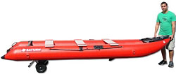 Inflatable kayak kaboat is easy to carry with dolly wheels