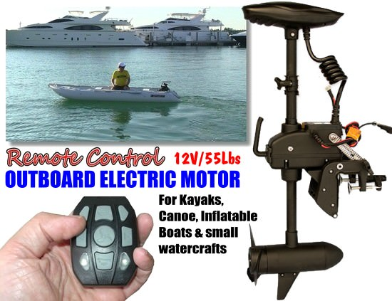12v 55lbs Transom Mounted Electric Trolling Motor With Fob