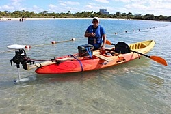 Remote Control Electric Trolling Motor installed on a plastic kayak. Click to zoom in.