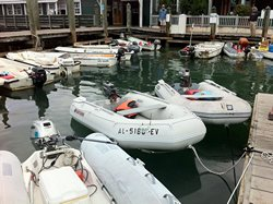 Inflatable dinghy boats parked at Marina