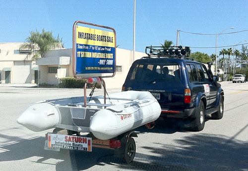Inflatable Boats Advertisment on a Trailer