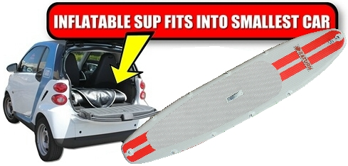 Inflatable paddle board deflated and stored inside Smart Mini Car