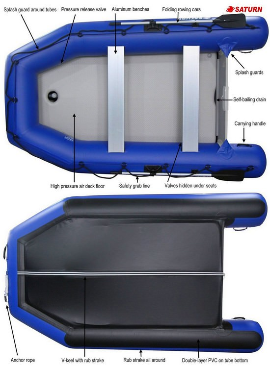 Saturn Blue SD330W Inflatable Boat Tech Specs
