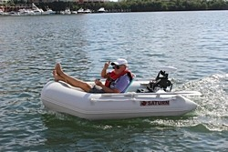 Saturn SD230 Inflatable Boat Dinghy Raft with 55lbs Electric Trolling Motor. Click to zoom in.