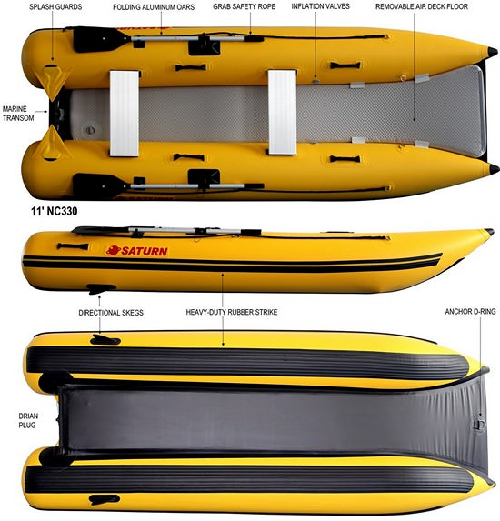 11' Saturn Inflatable Mini Catamaran NC330