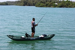 New Saturn OFK396 Inflatable Ocean Fishing Kayak is stable enough for standing in it
