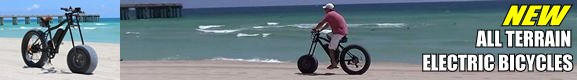 Sand Snow Electric Bicycle for Soft Beach Sand or Deep Snow or Mud. Extra wide front wheel.
