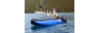 women paddling inflatable kayak