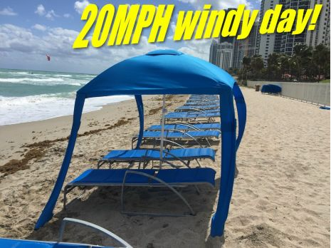 Beach Cabana Tent on windy day