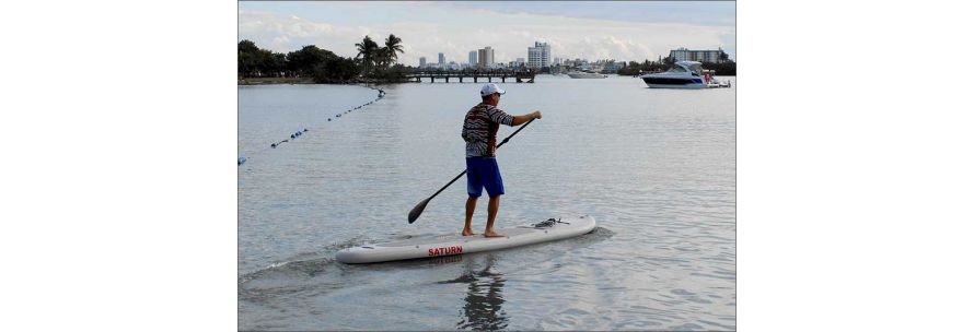 Standing on Inflatable SUP Board
