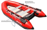 Inflatable boat swiming ladder attachment suggestion.