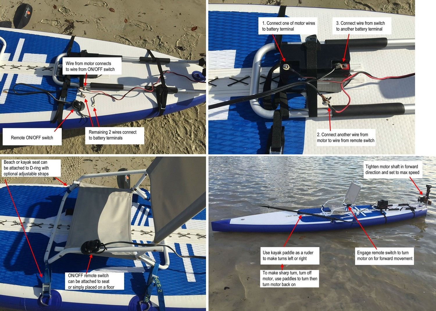Install Electric Motor On Any Sup Paddle Board Kayak Battery Wiring Diagram Manual For Mount Installation Inflatable Click To Zoom In