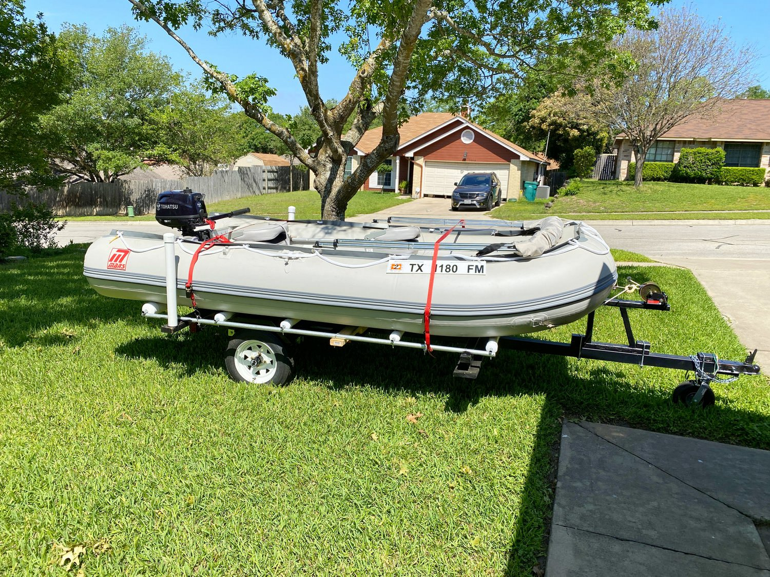 Mars Inflatable Dinghy Boat on a customized trailer