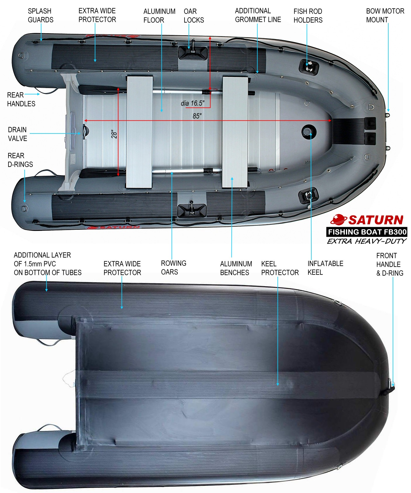 Saturn FB300 Inflatable Boat Specifications