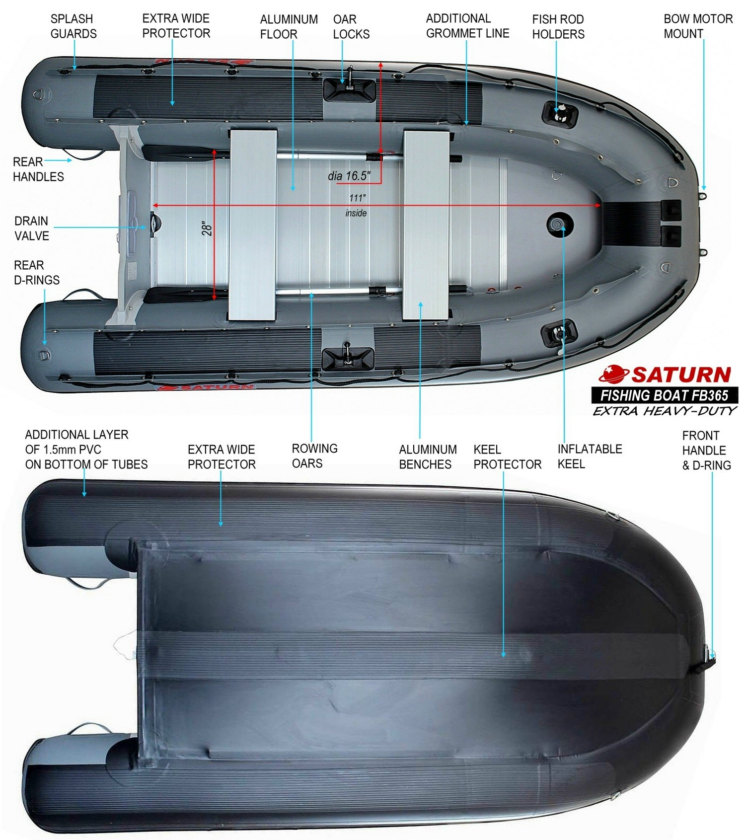 FB365 inflatable boat specs