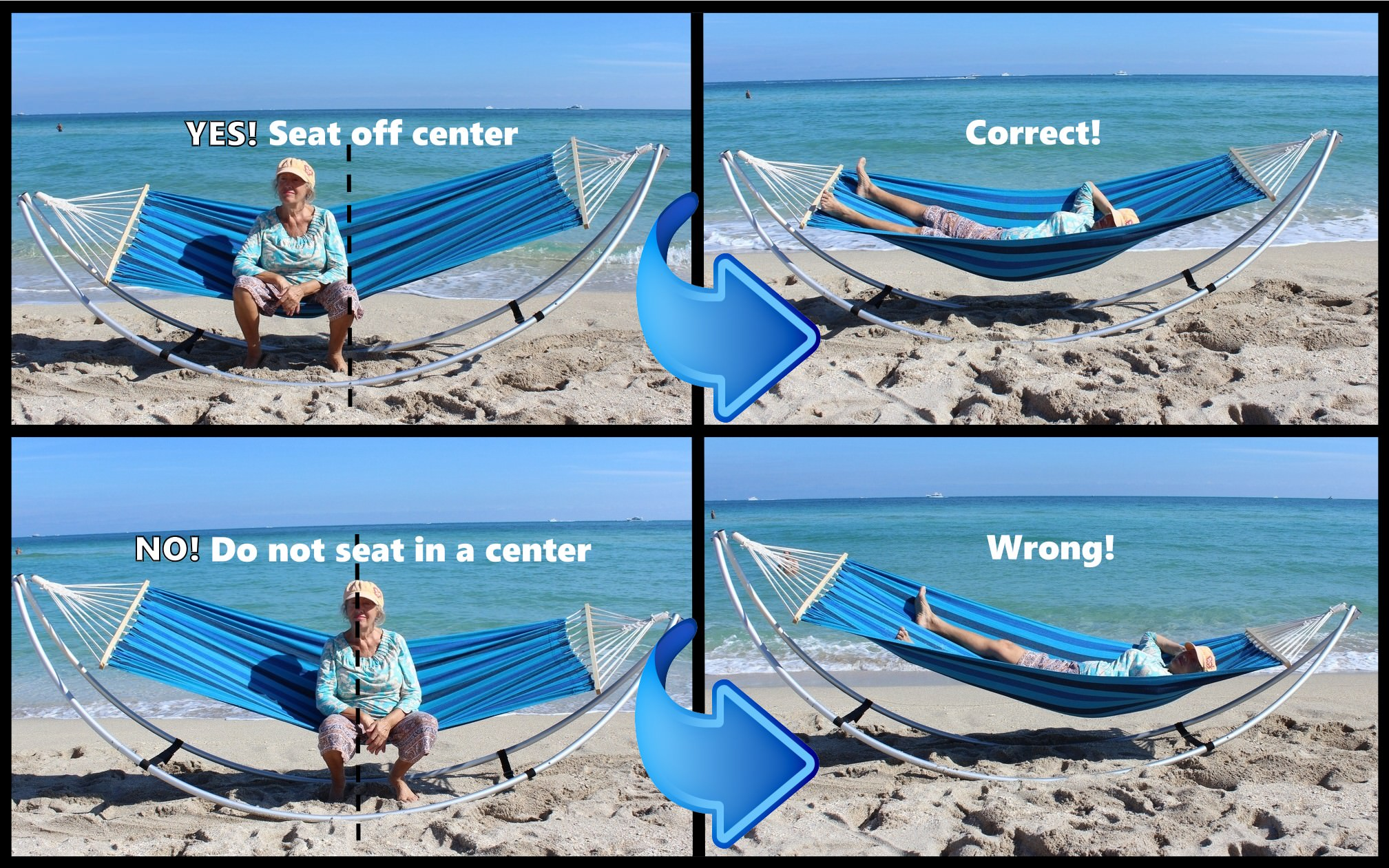 How to seat into folding beach hammock