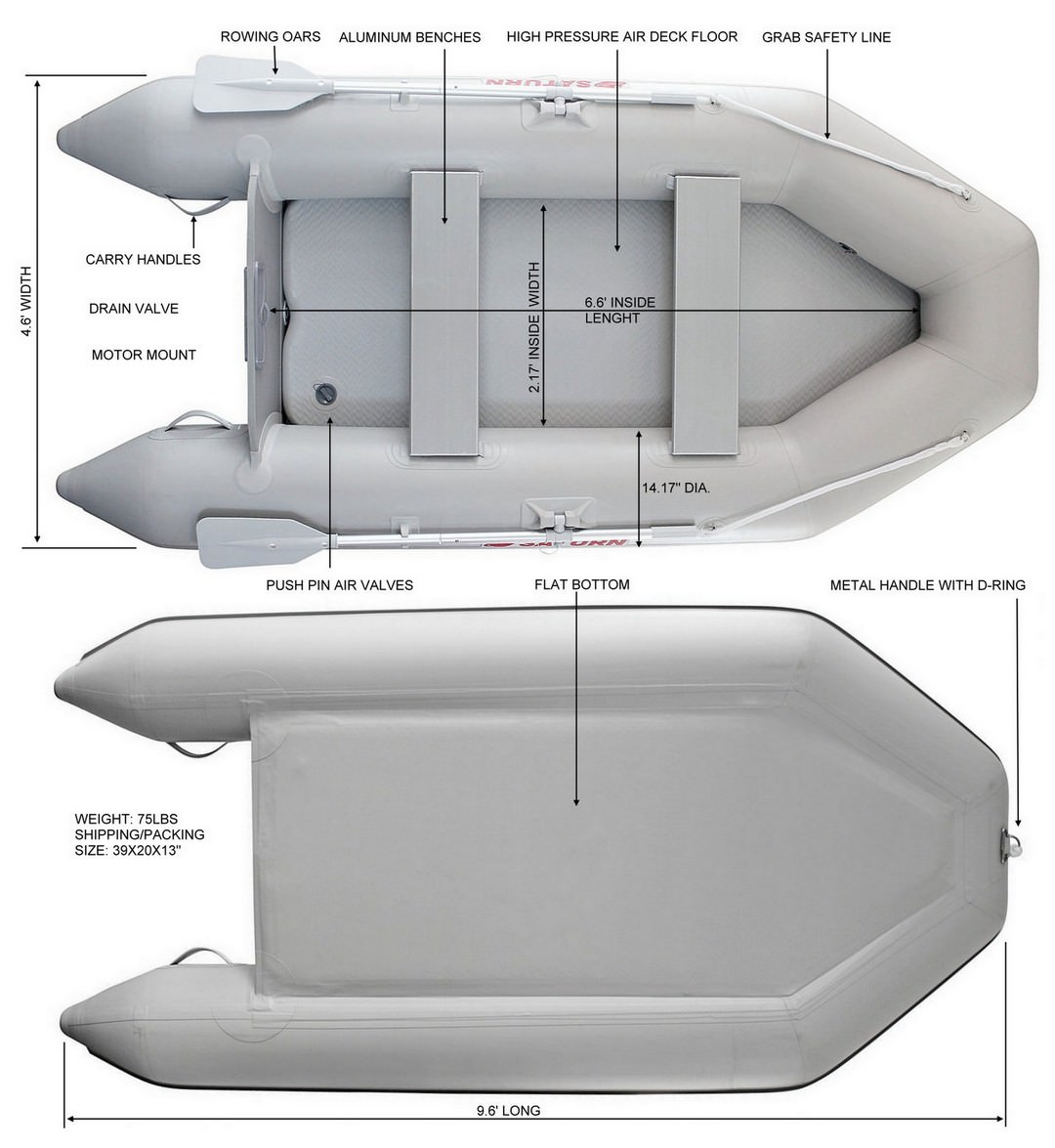 Saturn CB290 inflatable boat specifications