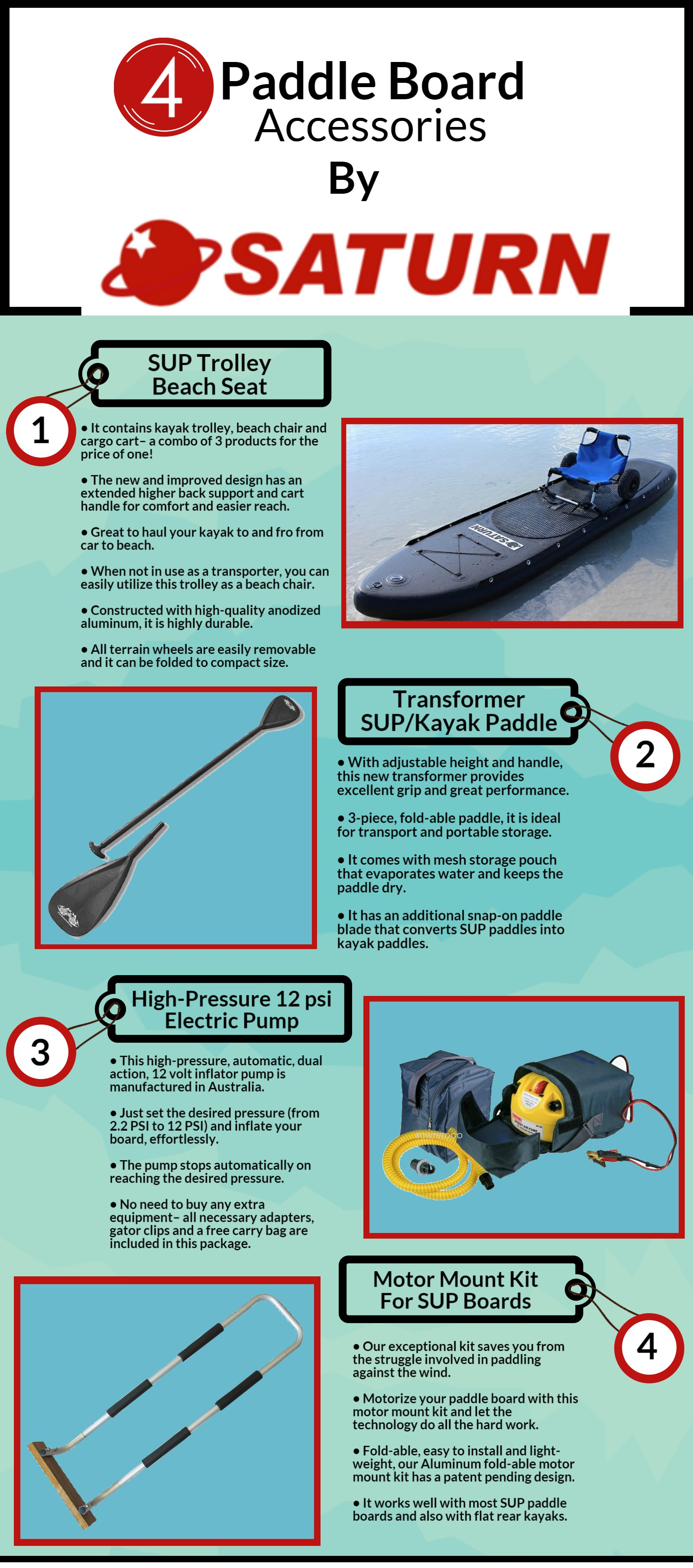 Accessories for Inflatable Paddle Boards from Saturn