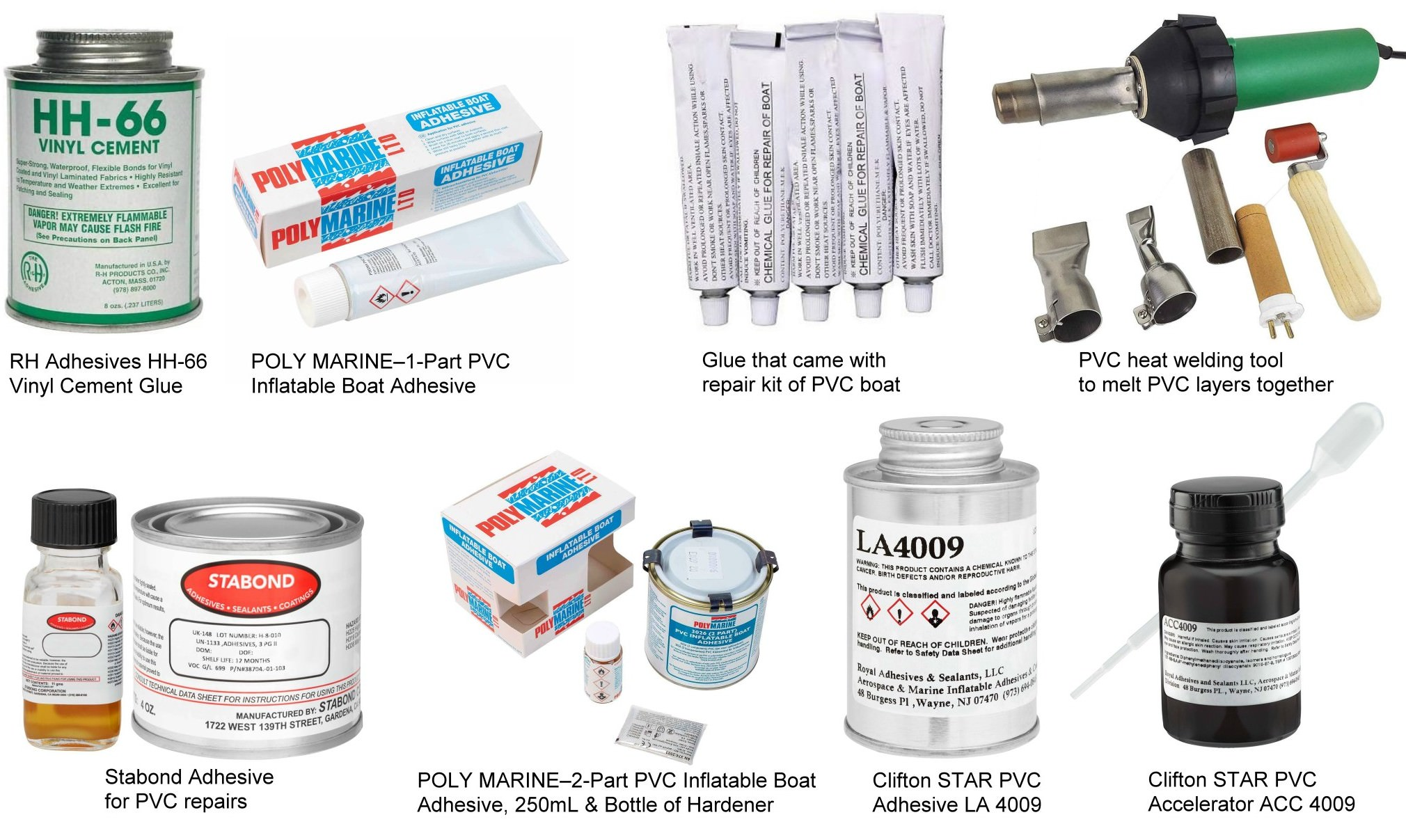 Types of glue for PVC boat repairs and heat welding method