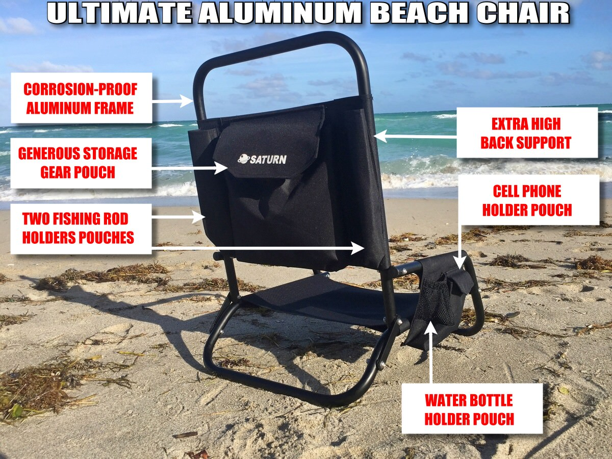 Saturn Folding Aluminum Beach Fishing Chair for Paddle Boards, Kayaks, KaBoats or Boats