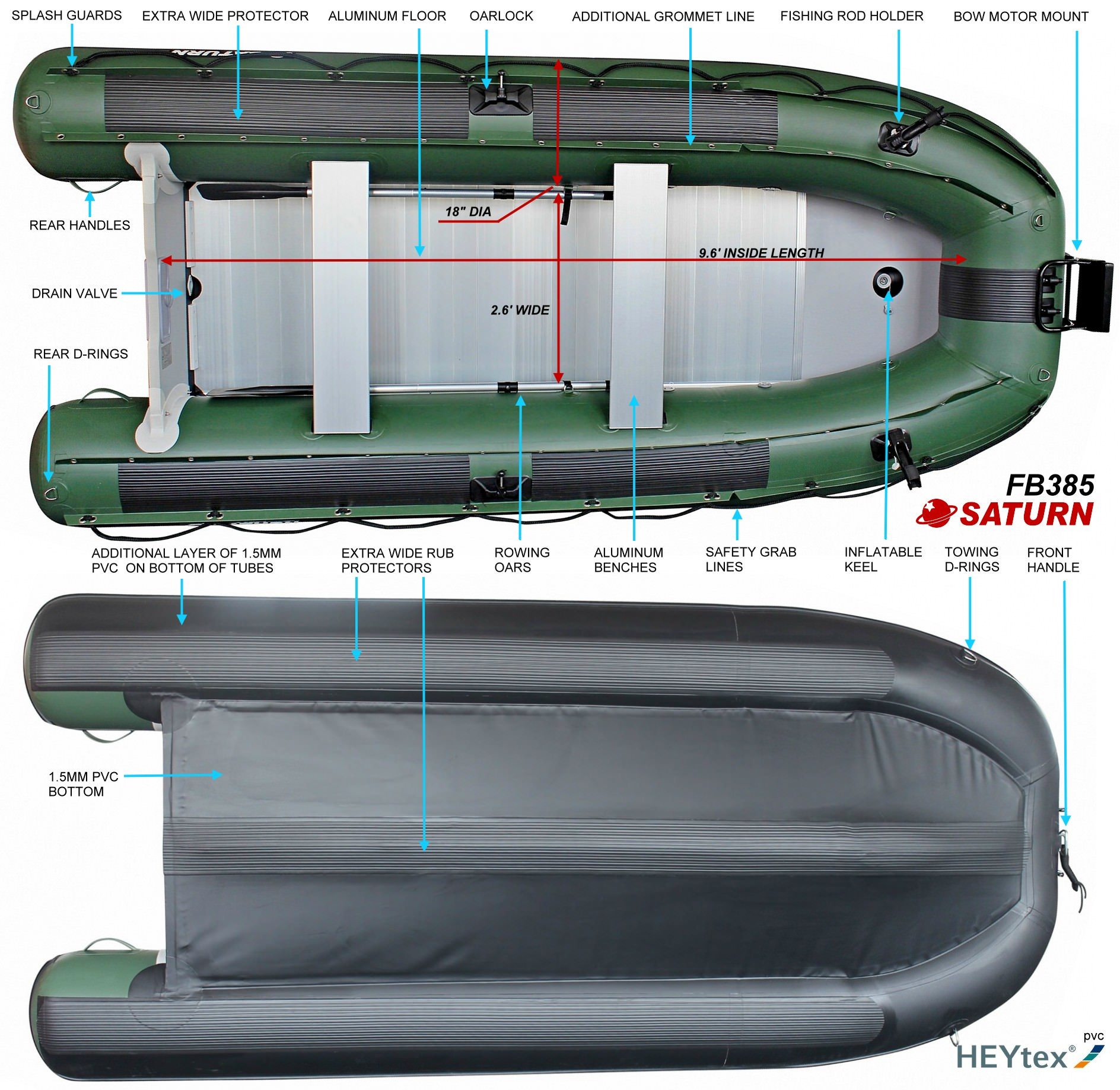Saturn FB385 inflatable boat specifications