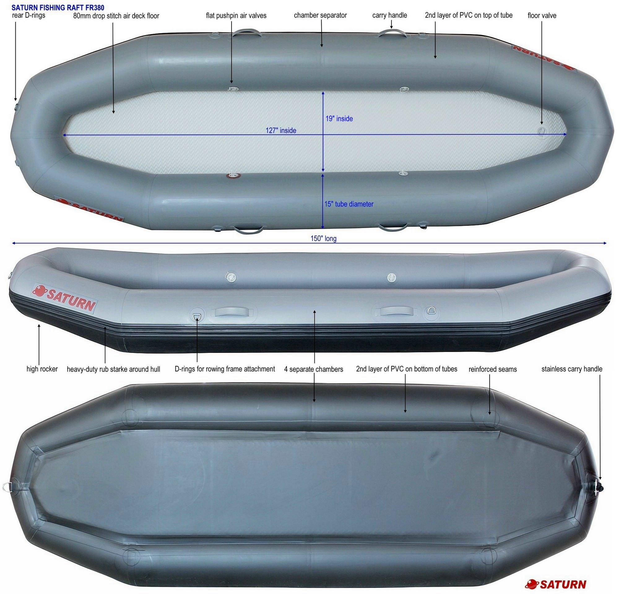 Saturn FR380 river rafts specifications