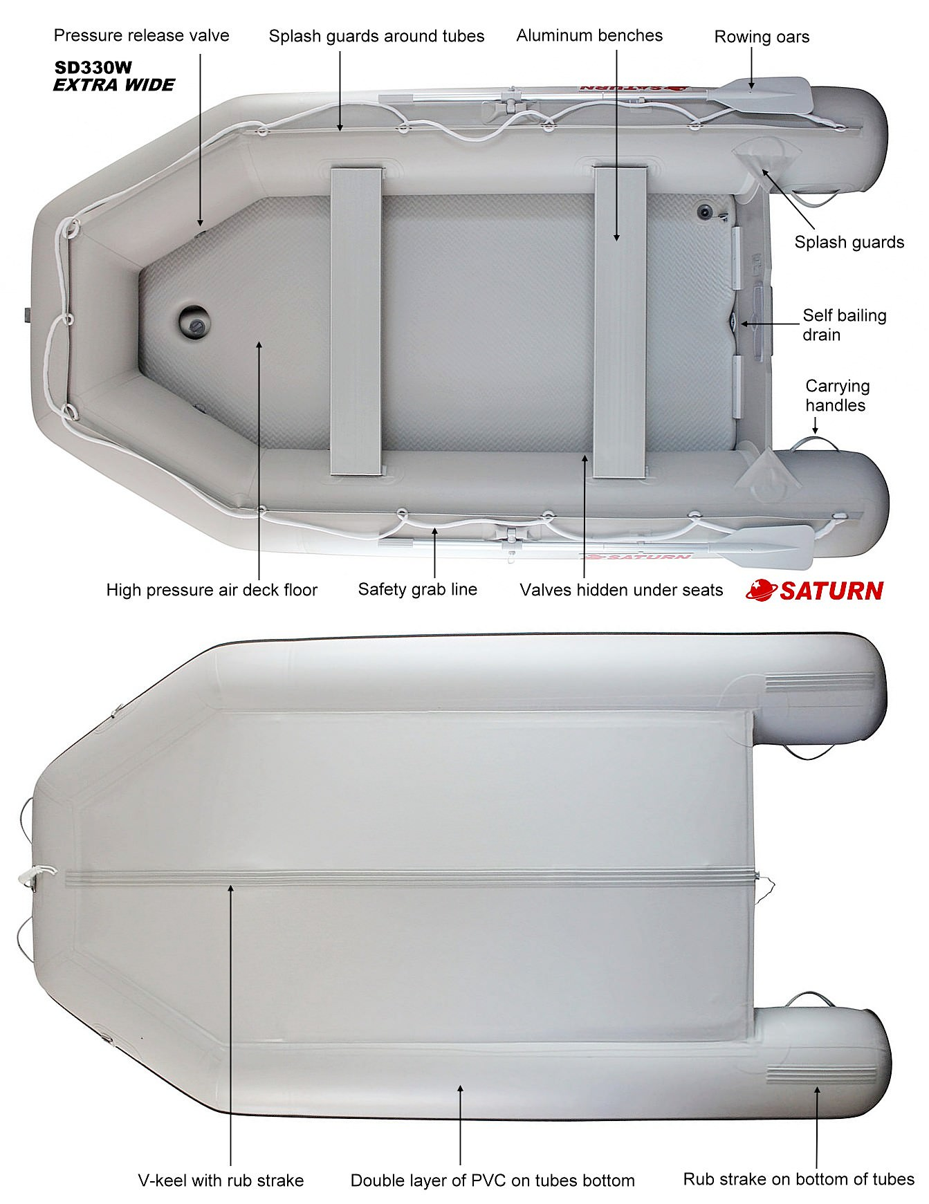 Saturn Extra Wide Inflatable Boat SD330W Specifications