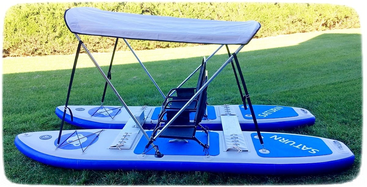 Customer's picture of SUP catamaran with bimini top