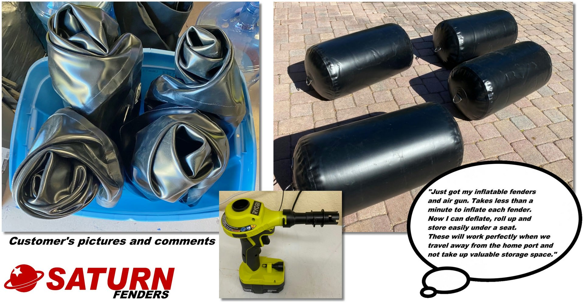 Customer's review and pictures of Saturn inflatable fenders