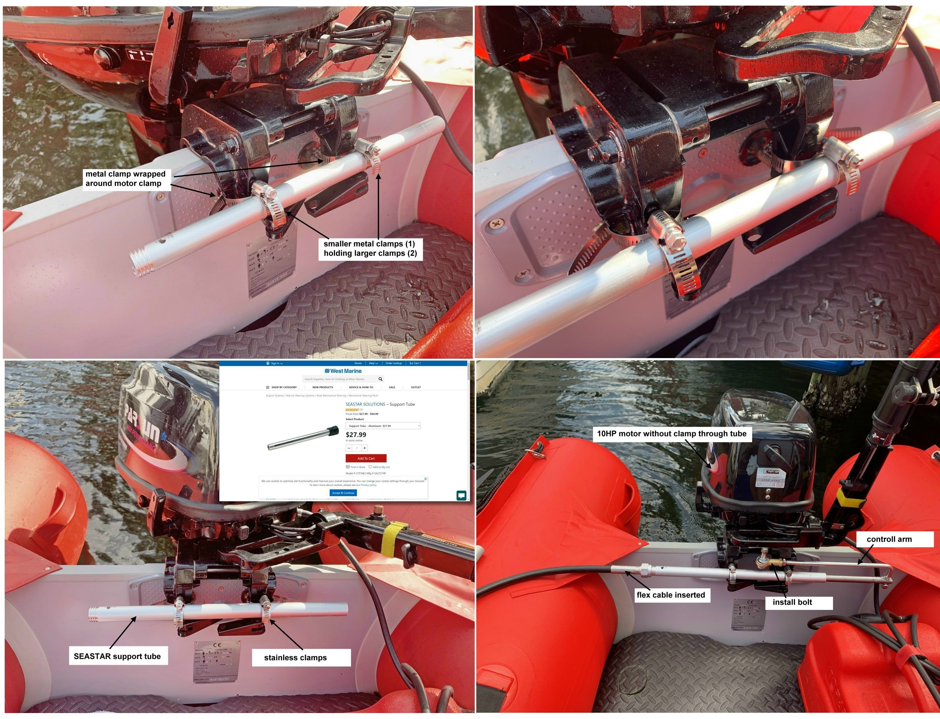 Steering tube attachment to motor without steering tube
