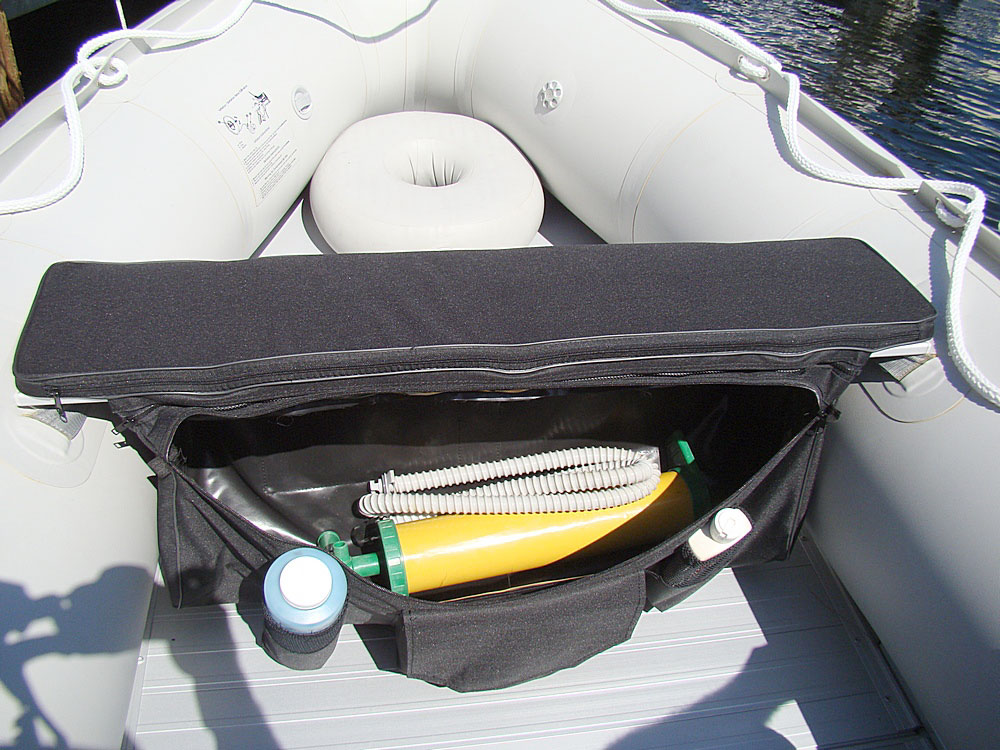 Inflatable Seat Cushion >> Under seat storage bags and seat cushions for inflatable boats benches.