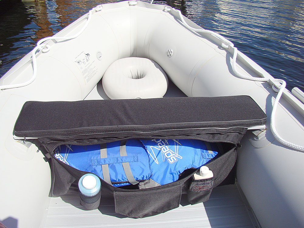 Great place to store life jackets & Under seat storage bags and seat cushions for inflatable boats benches.