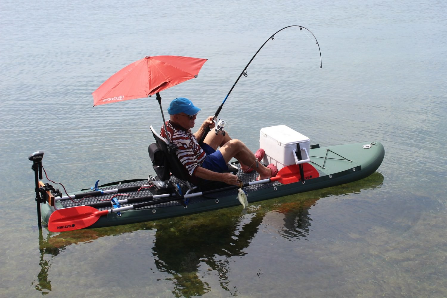 Saturn pro angler fishing inflatable paddle boards sup on for Bote paddle board with motor