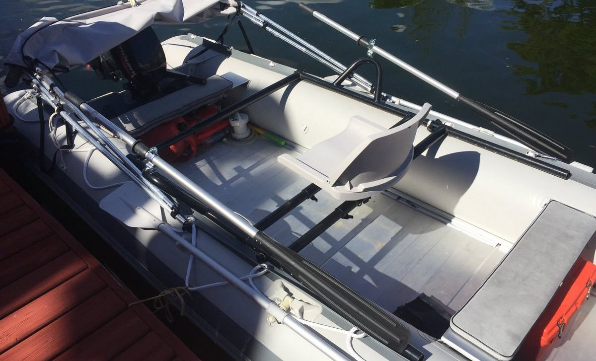 Rowing Frame Installed on Inflatable Boat