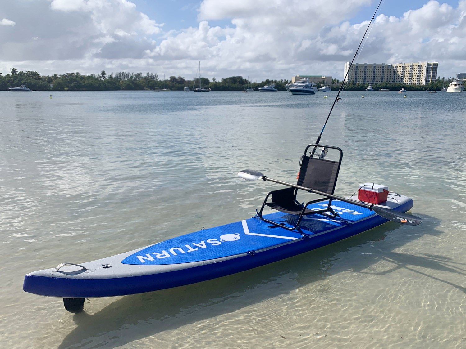 Convert SUP into kayak with chair