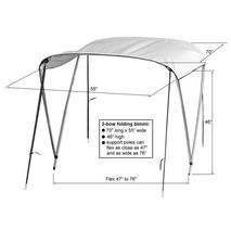 2-bow Folding Bimini Top Sun Shade