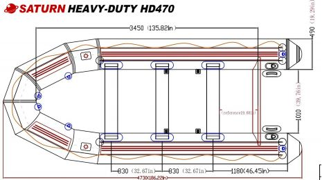 Saturn Heavy Duty Inflatable Boat HD470